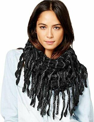 Steve Madden Loose Weave Metallic Rag-a-Muffin Infinity Scarf, Black, One Size