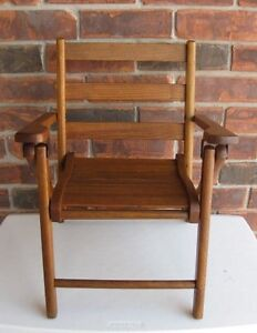 Solid Oak Childs Folding Chair dating to the 1950's