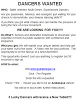 DANCERS WANTED