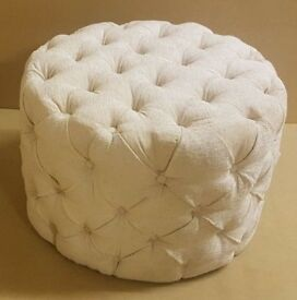 Chesterfield Small Round Footstool in Cream Chenille