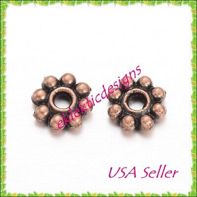 100pc 4mm Antique Copper Metal Tibetan Style Daisy Bead Spacers Finding (Find Style)