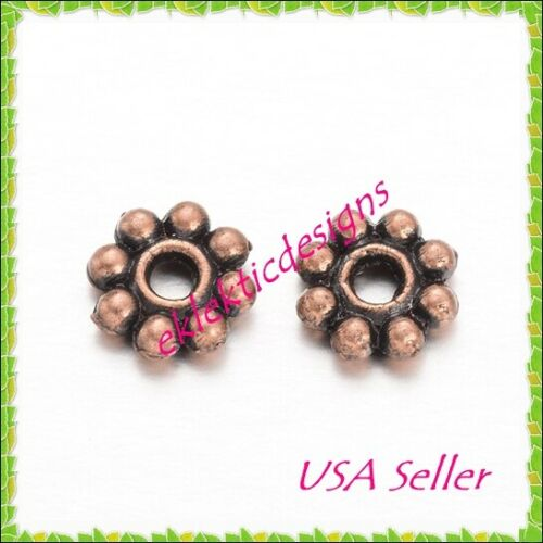 50pc 5mm Antique Copper Metal Tibetan Style Daisy Bead Spacers Finding Earrings