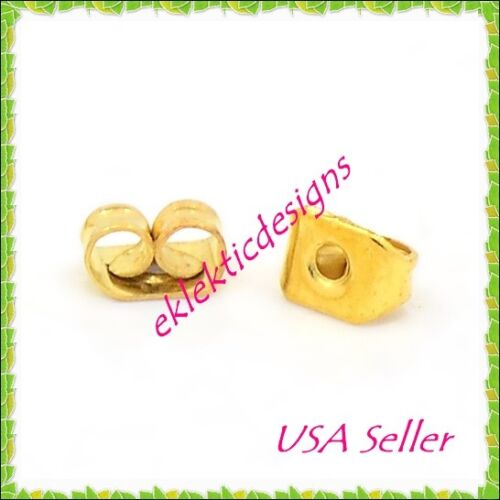 100pcs 5x3.5mm Gold Plated Earnuts Earring Backs Stoppers Plugs 50pr Findings