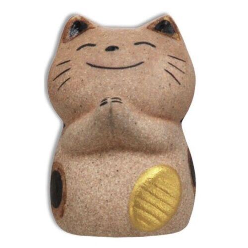 "Japanese 2"" Clay Maneki Neko Lucky Cat Gold Coin Ornament Arigato Made in Japan"
