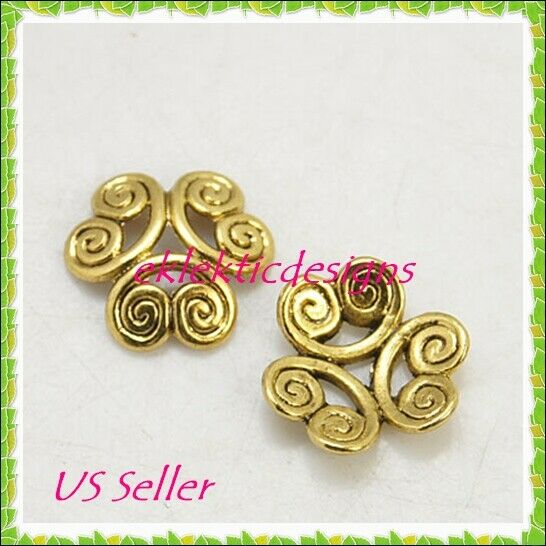 10pcs 12mm x 4mm Antique Gold Tibetan 6 Petal Swirl Flower Bead Caps Findings