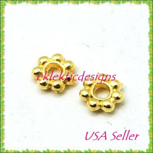 50pcs 5mm Gold Plated Metal Tibetan Style Daisy Bead Spacers Findings Earrings
