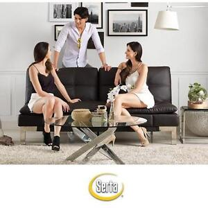 NEW SERTA VALENCIA CONVERTIBLE SOFA - 109840261 - BROWN - BONDED LEATHER - SLEEPER SLEEPERS SOFAS LOUNGER FURNITURE D...