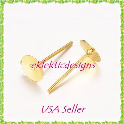 20pcs 6mm Gold Plated Flat Back Stud Posts Earrings Jewelry Findings 10prs 6 Mm Flat Stud