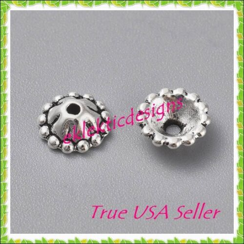 *NEW* 25pcs 8mm x 4mm Antique Silver Tibetan Style Daisy Flower Cone Bead Caps