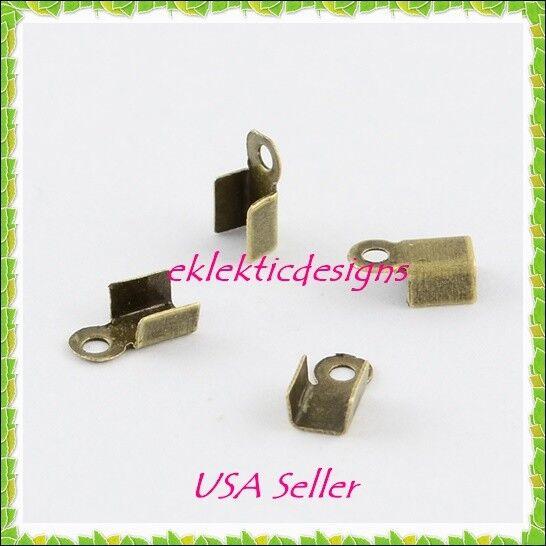 100pc Antique Brass Bronze Folding Cord End Caps Crimps Tips 9x3.5mm Findings