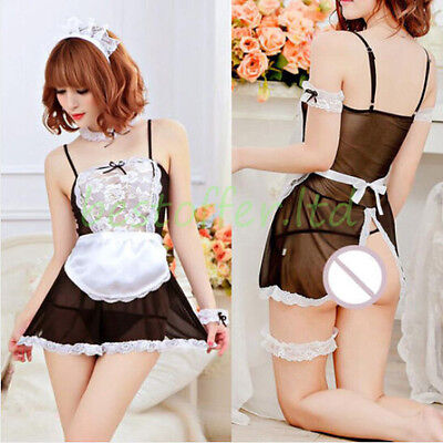 Sexy Women French Maid Outfit Lace Trim Babydoll Lingerie Lovely Dress Plus Size