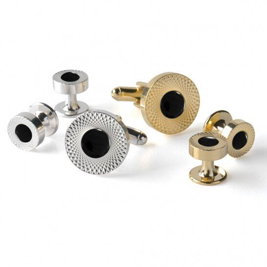 Etched Double Wide Setting Tuxedo Studs and Cufflinks