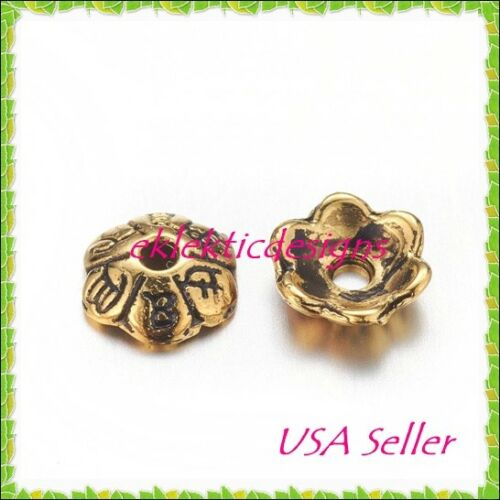 50pcs Antique Gold Tibetan Style 6 Petal Flower Bead Caps 6mm Jewelry Findings