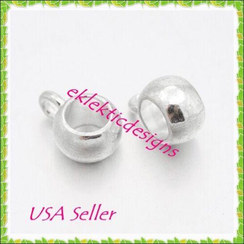 10pcs Silver Plated Tibetan Spacer Rondelle Hangar Bails Links Beads 8x5x6mm