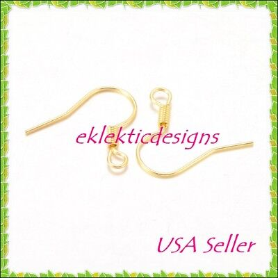 Gold Plated Jewelry Findings - 100pcs Gold Plated Hook French Fish Wire Coil Earrings Jewelry Findings 50prs