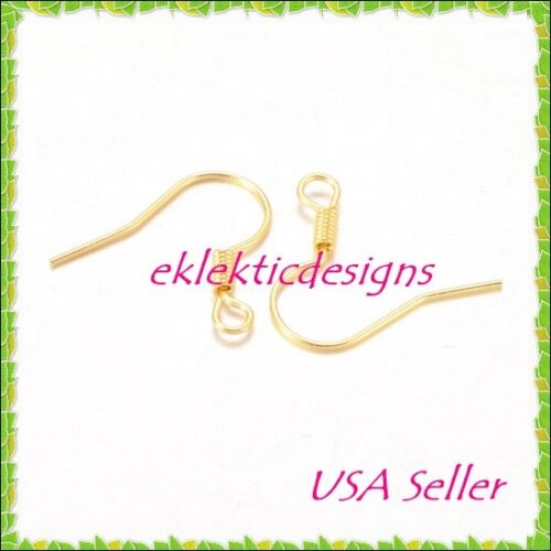 50pcs Gold Plated Hook French Fish Ear Wire Coil Earrings Jewelry Findings 25pr
