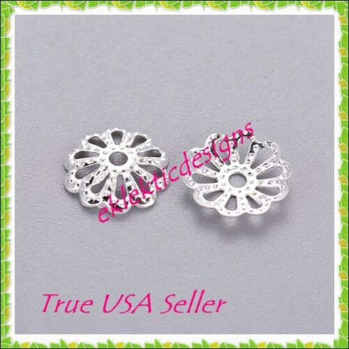 100pcs 9mm Silver Plated Multi Petal Flower Filigree Style Bead Caps Findings