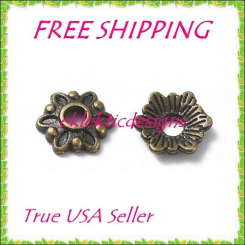 25pcs 8mm Antique Bronze Tibetan Style Metal 5 Petal Flower Daisy Bead Caps