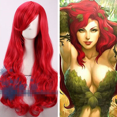 Batman Poison Ivy Pamela Lillian Isley Long Lang Rot Wig Perücke Cosplay Kostüm