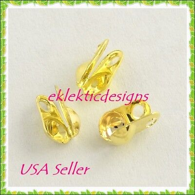100pc Gold Plated Clamshell End Bead Caps Tips 6x3.5mm Crimps Jewelry Findings