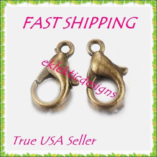 10 antique bronze claw clasp12x6mm 1mm hole
