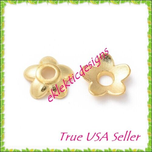 50pcs Gold Plated Tibetan Style 5 Petal Flower Bead Caps 6mm Jewelry Findings