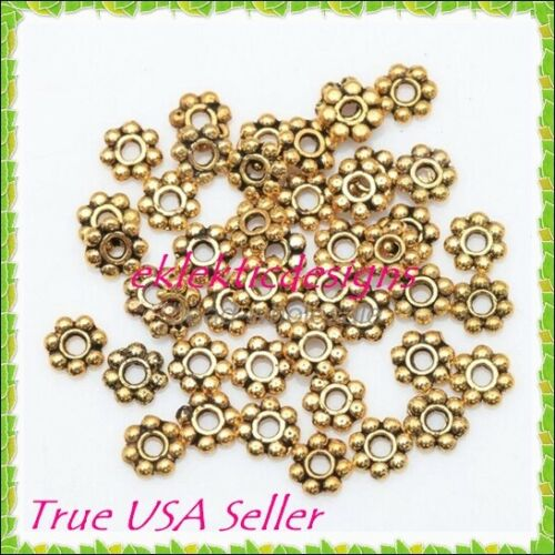 100pcs 4mm Antique Gold Plated Metal Tibetan Style Daisy Bead Spacers Findings