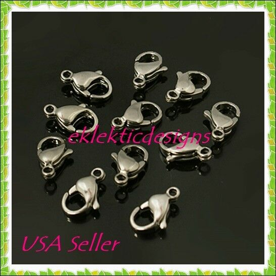 50pcs 304 Stainless Steel Lobster Claw Clasps Smooth w// Extension Chains 15x9mm