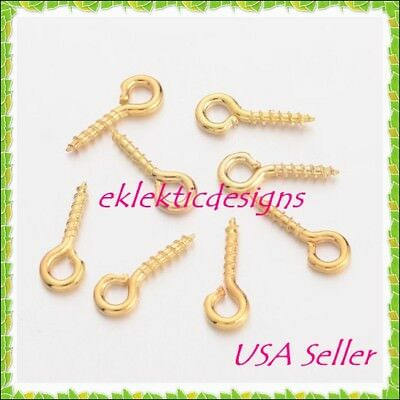 100pcs 10x4mm Gold Plated Bead Pendant Pin Bail Eye Screws Tips Jewelry Findings