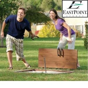 NEW EASTPOINT HORSESHOE SET 1-1-08520-FWMPP 247724156 4 Cast Iron 2.5 pound and 2 Solid Steel Stakes gold and silver