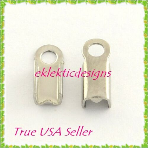 NEW 25pcs 9mm x 4mm 304 Surgical Stainless Steel Folding Cord Crimp Ends Caps