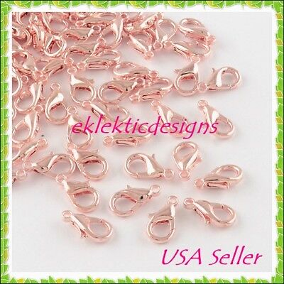10mm 20pcs Lt Rose Gold Lobster Clasps Claws Connector Bracelet Jewelry Findings ()