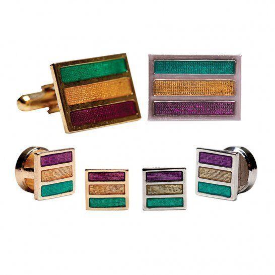 Mardi Gras Colored Stripes Cufflinks & Studs