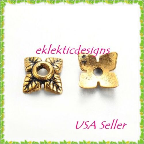 50pcs Antique Gold Tibetan Style 4 Petal Flower Bead Caps 6mm Jewelry Findings