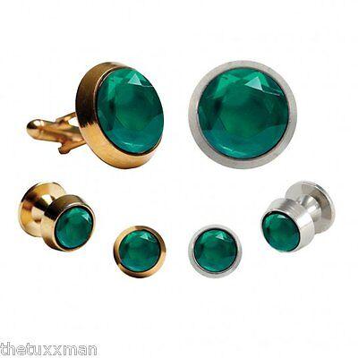 Emerald Stud Cufflinks - New Mens Emerald Rose Cut Crystal Cufflinks Studs Set Formal TUXXMAN Tuxedo