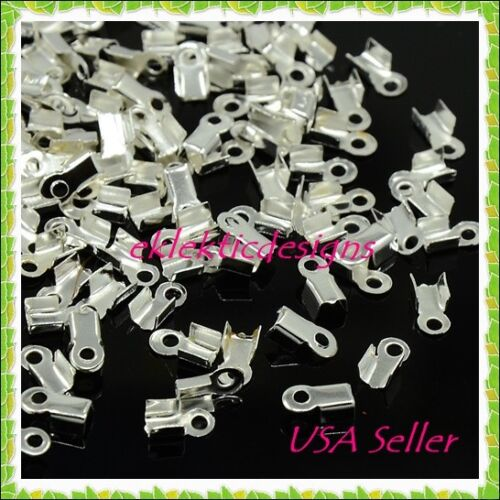 100pc Silver Plated Cord Ends Folding Caps Tips 9x3.5mm Crimps Necklace Jewelry