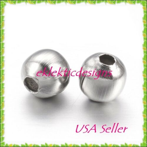 4mm 50pc Stainless Steel Metal Round Spacer Beads Earrings Jewelry Findings