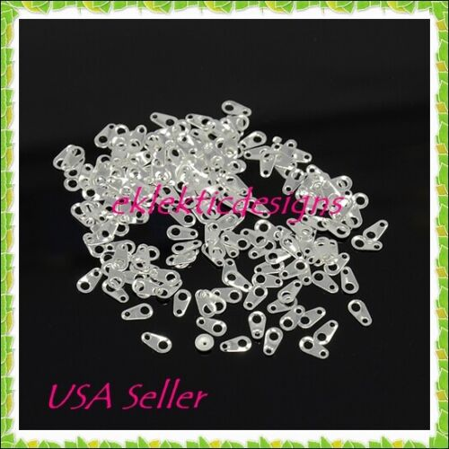 *NEW* 100pcs 7mm x 3.9mm Silver Plated BRASS Extender Chain Tabs Connectors Ends