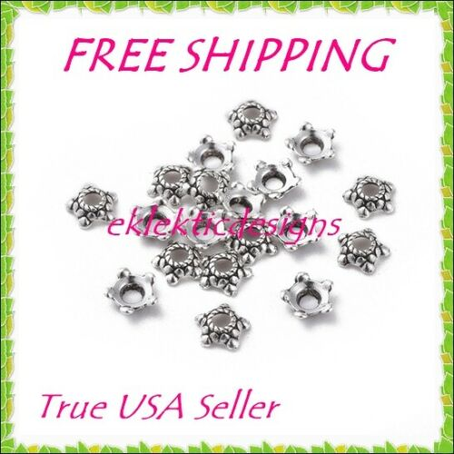50pcs 6mm Antique Silver Tibetan Style 5 Point Flower Star Metal Bead Caps