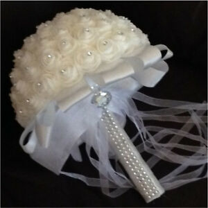 Brand New Ivory White Crystal Bridal Bouquet OBO