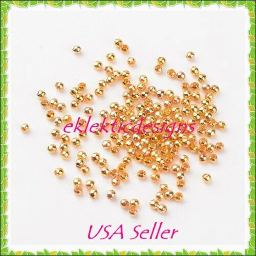 3mm 200 pcs Gold Plated Metal Spacer Beads Jewelry Findings Necklace