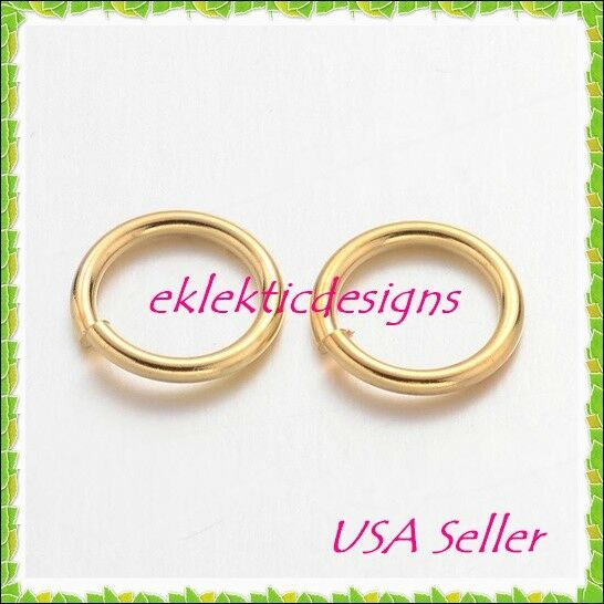 8mm 18gauge 50pc BRASS NF Gold Plated Open Jump Rings Findings Earrings Necklace