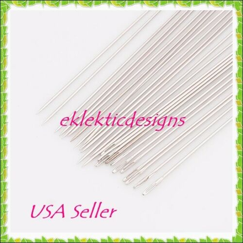 HOT 25pcs Beading Needles Iron 52mm .45mm #10 Jewelry Bracelet Necklace Darning