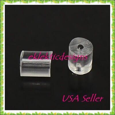 (100pcs 3x3mm Clear Rubber Plastic Earring Backs Stoppers Plugs Earnuts Findings)