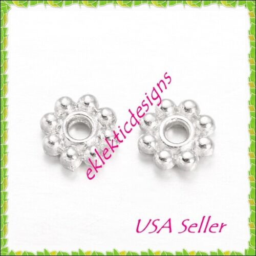 100pcs 4mm Silver Plated Metal Tibetan Style Daisy Bead Spacers Finding Earrings