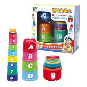 NEW-Free-Shipping-Colourful-Developmental-Stacking-Cups-Tower-Baby-Kids-Toys