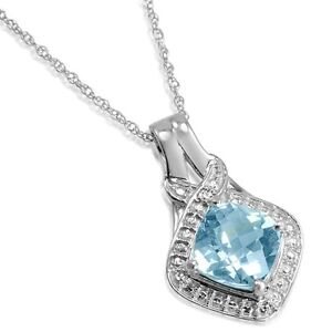 2 3/4 ct Sky Blue Topaz and Diamond Pendant-Necklace in Sterling Silver