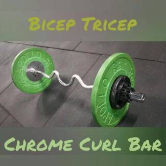 Bicep and  Tricep Olympic Chrome Curl bar &rotating ends.122cms