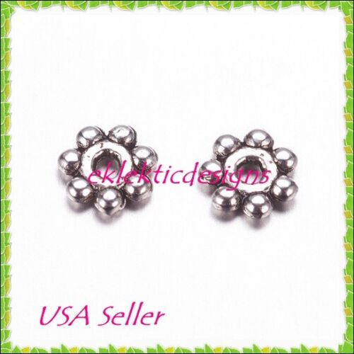 4mm 100pc Antique Silver Metal Tibetan Style Daisy Flower Bead Spacers Finding