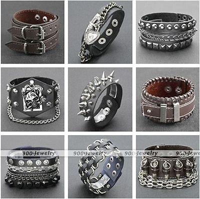 - Punk Men Black Brown Real Leather Rivet Wristband Cuff Bangle Bracelet Cool Gift